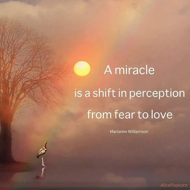 A Miracle Is A Shift In Perception From Fear To Love Marianne Williamson Inspirational Love Quotes