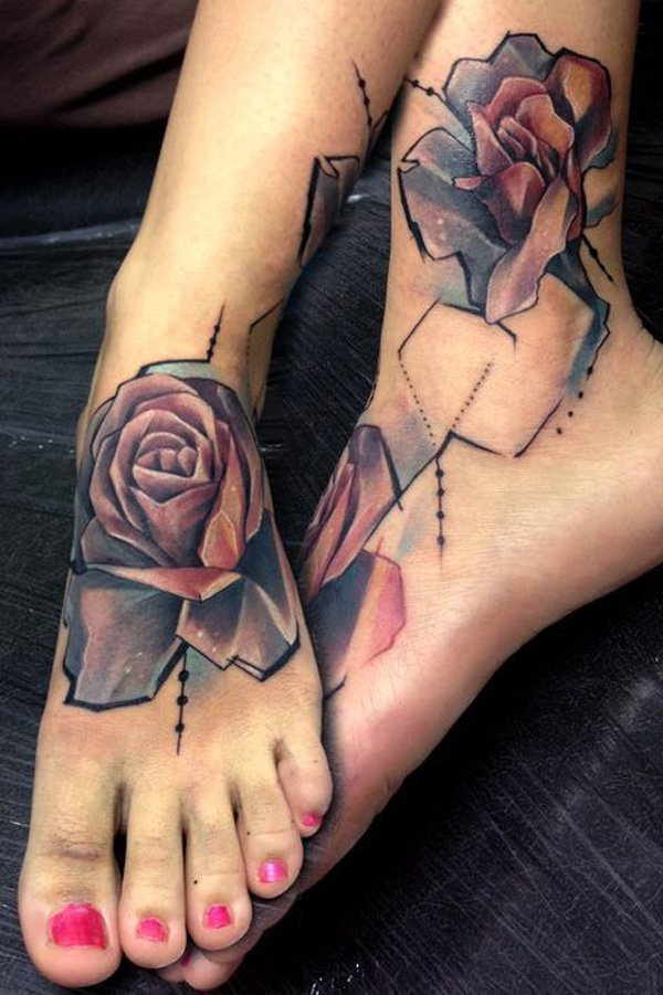 Amazing Foot Tattoos On Back With Black Ink For Women