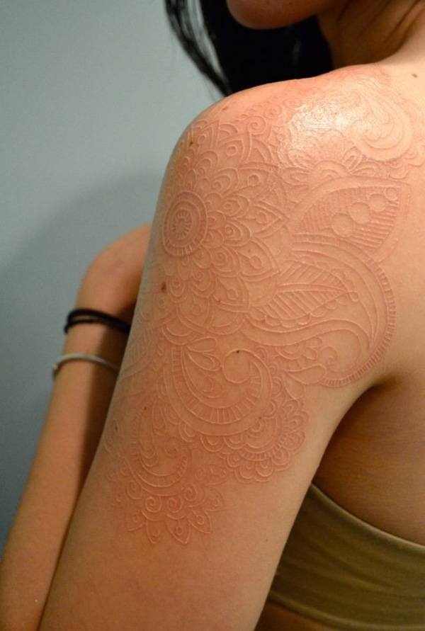 Amazing White Ink Tattoo On Shoulder For Women
