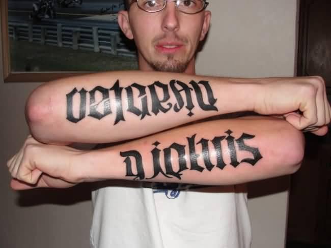 Ambigram Sleeve Tattoo