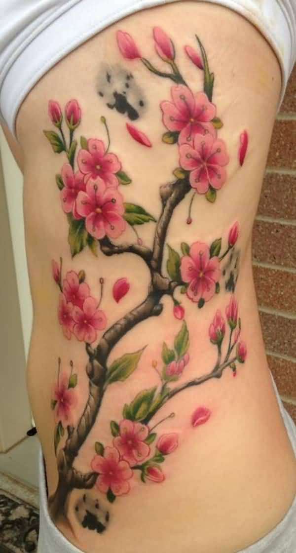 Attractive Realistic Cherry Blossom Tattoo For Women On Side On Back With Red Ink For Women