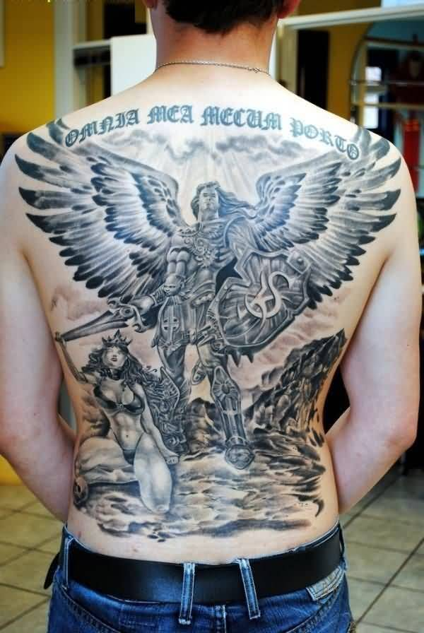 awesome blue and gray color ink angel tattoo on boy full back cover for boys made by expert