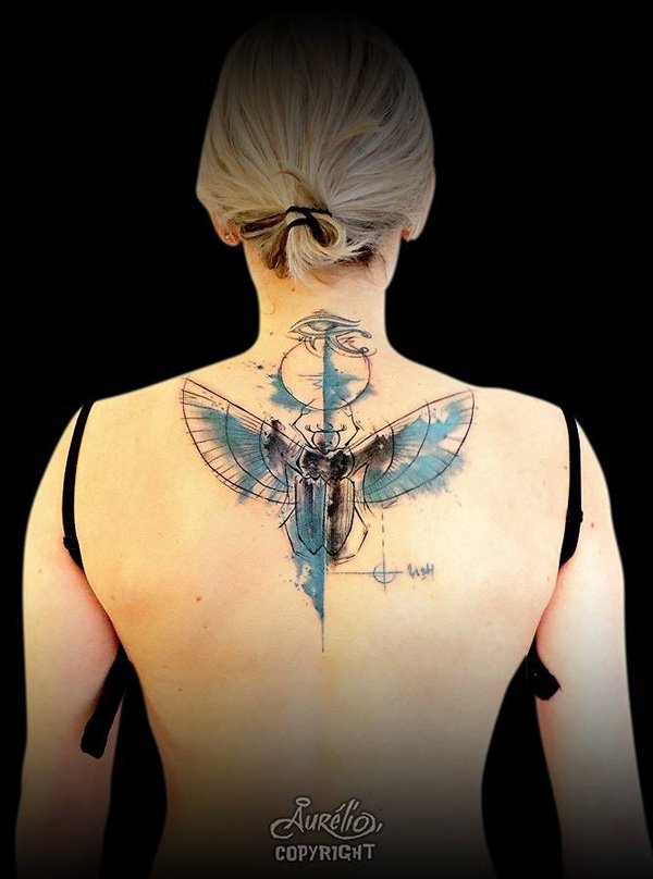 awesome scarab back tattoo on back With colourful ink For Man And Woma