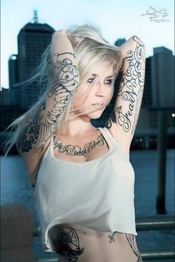 Awesome Tattooed Women On Arms On Back With Black Ink For Women