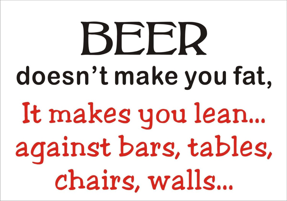 Beer Doesnt Make You Fat It Makes You Lean Against Bars Tables Chairs Walls