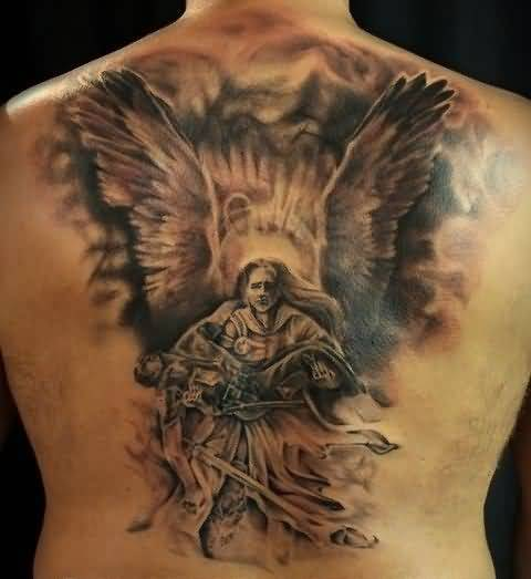 brilliant black and red color ink angel tattoo on girl back cover for girls made by expert artist