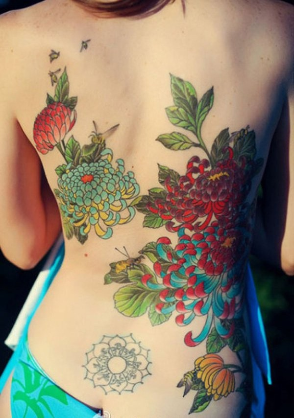 Cool Chrysanthemum Tattoo With Colorful Ink For Man Woman