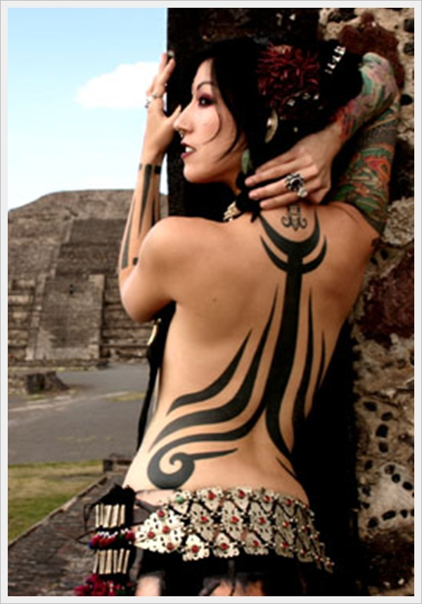 Cool Tribal Tattoo On Back For Women