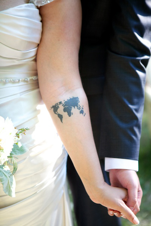 Cool World Map Tattoo On Forearm With Black Ink For Man Woman