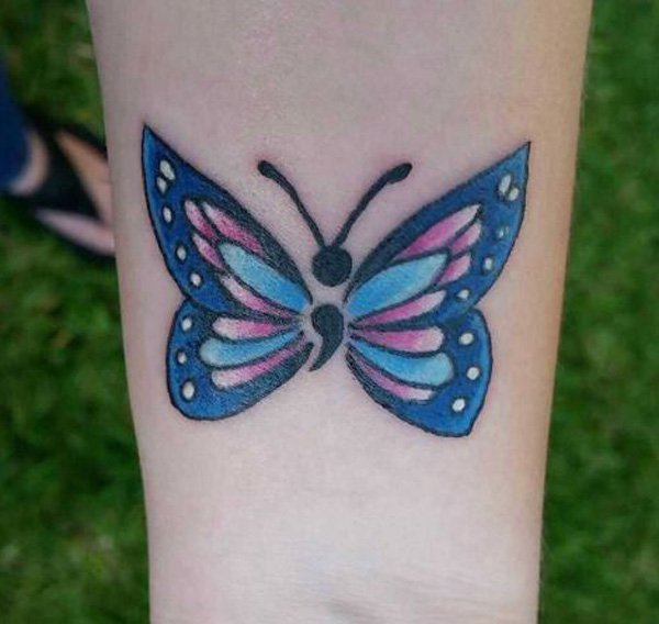 Coolest Semicolon Tattoo With Black Ink For Man Woman