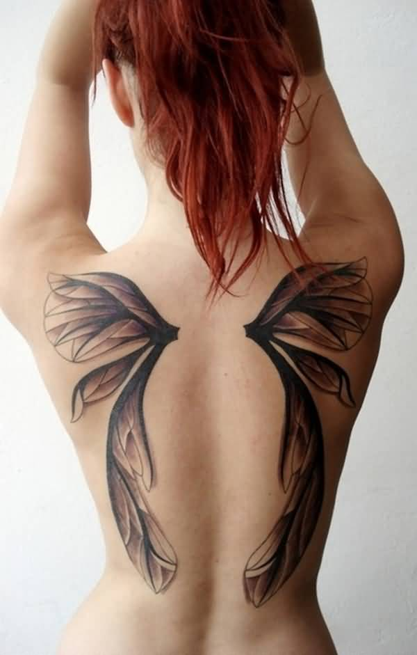 Coolest Wings Tattoo On Back On Back With Black Ink For Women