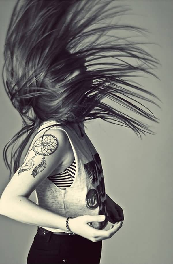 Cute Dream Catcher Tattoo For Women On Shoulder On Back With Black Ink For Women