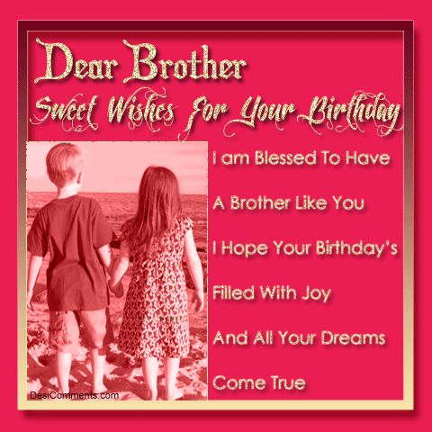 dear brother sweet wishes for your birthday i am blessed to have a borther like you i hope you birthday's filled with joy and all your dreams come true.