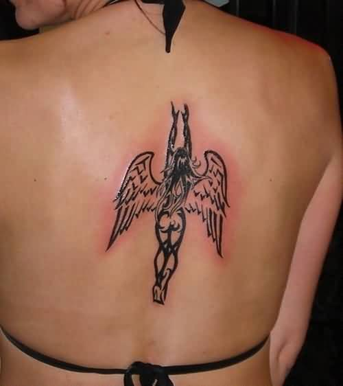 dreamcatcher black color ink angel tattoo on girl back cover for girls made by expert artist