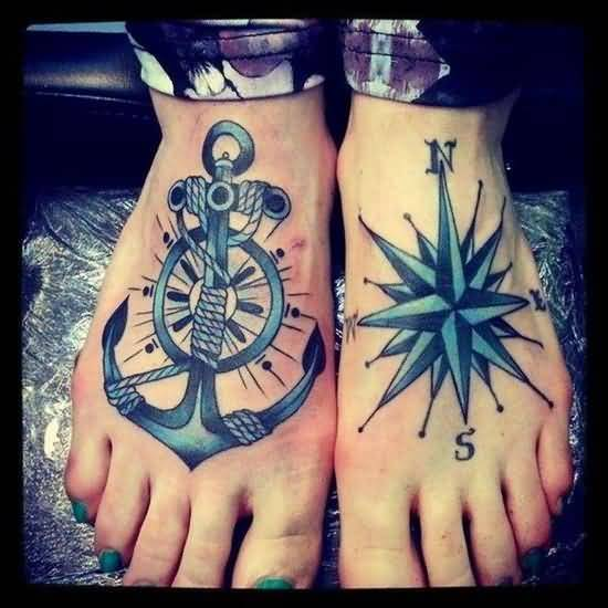 fabulous blue light color ink anchor tattoo on girls foot for girls made by expert