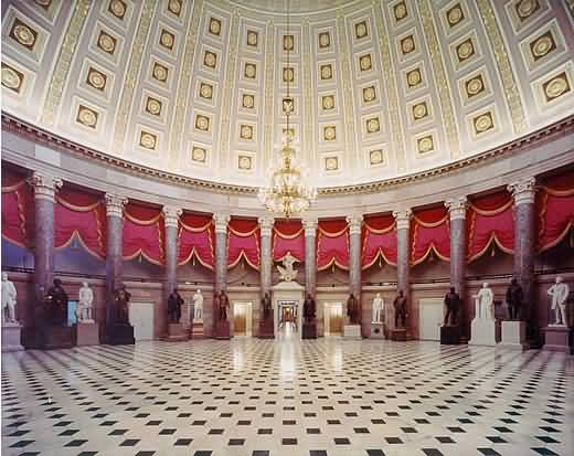 Famous National Statuary Hall Inside United States Capitol With Beautiful Floor And Walls