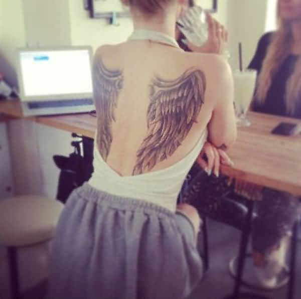 Fantastic Angel Wings Tattoos For Women On Back On Back With Black Ink For Women