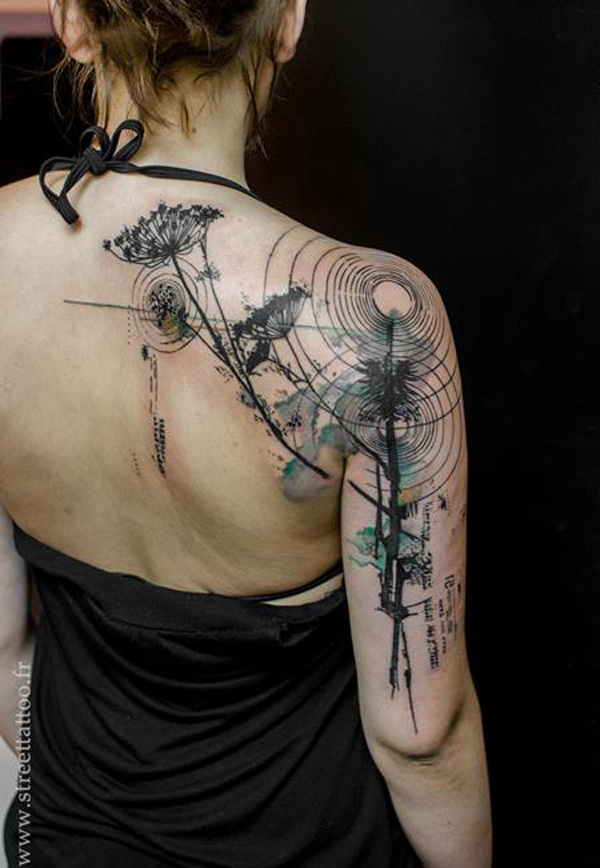 Fantastic Watercolor Tattoos Fo Rwomen On Shoulder On Back With Black Ink For Women