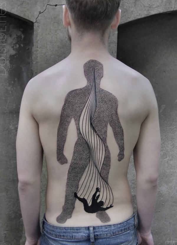 fantastic abstract surreal style tattoo on back With black ink For Man And Woma