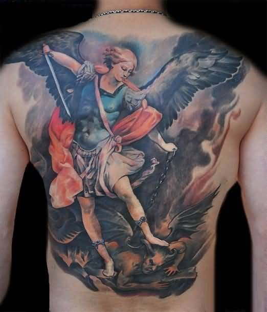 fantastic red and blue color ink angel tattoo on boy back cover for boys made by expert artist