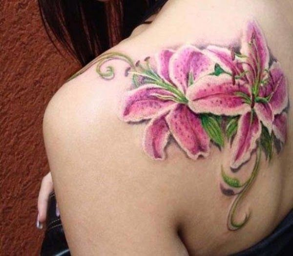 Fascinating Lily Color Tattoo On Back With Colorful Ink For Man Woman