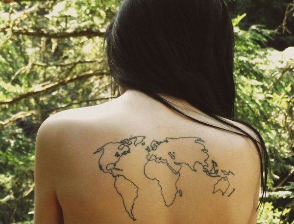 Fascinating World Map Tattoo With Black Ink On Back For Man Woman