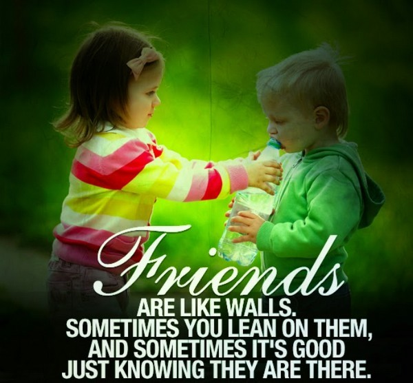 friends are like walls sometimes you lean on them and sometimes it's good just knowing they are there