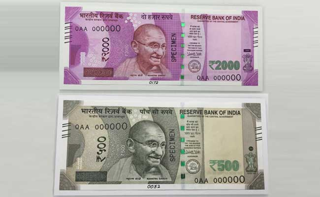 Front Side View Of New Indian 500 And 2000 Note