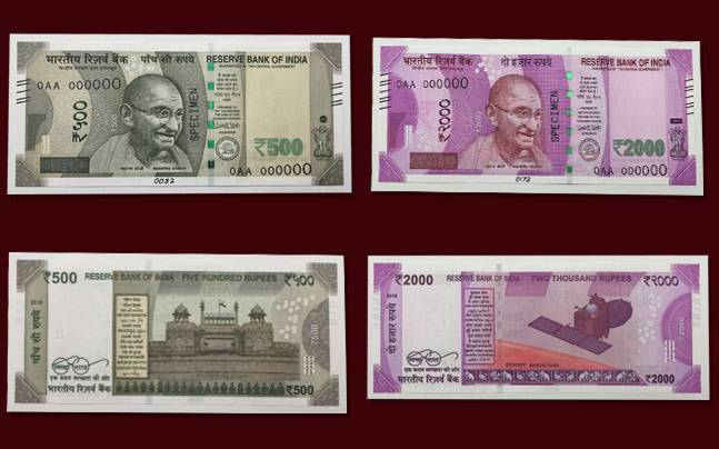 Fulled Sided View Of New Currency Of India Notes Rs 500 And Rs 2000