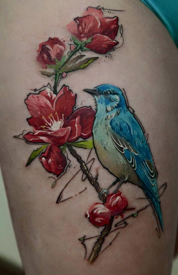 Great Bird And Flower Tattoo With Colorful Ink For Man Woman