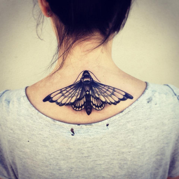 Great Butterfly Tattooed Woman On Neck On Back With Black Ink For Women
