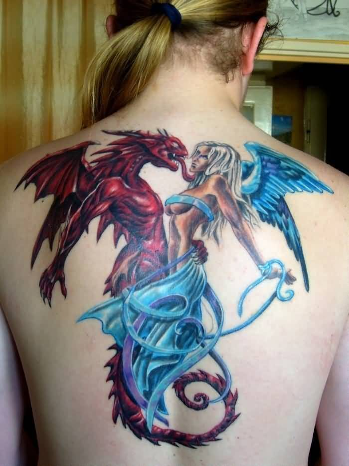 great blue and red color ink angel tattoo on girl back cover for girls made by expert artist