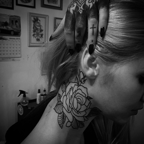 great rose nack tattoo on neck With black ink For Man And Woma