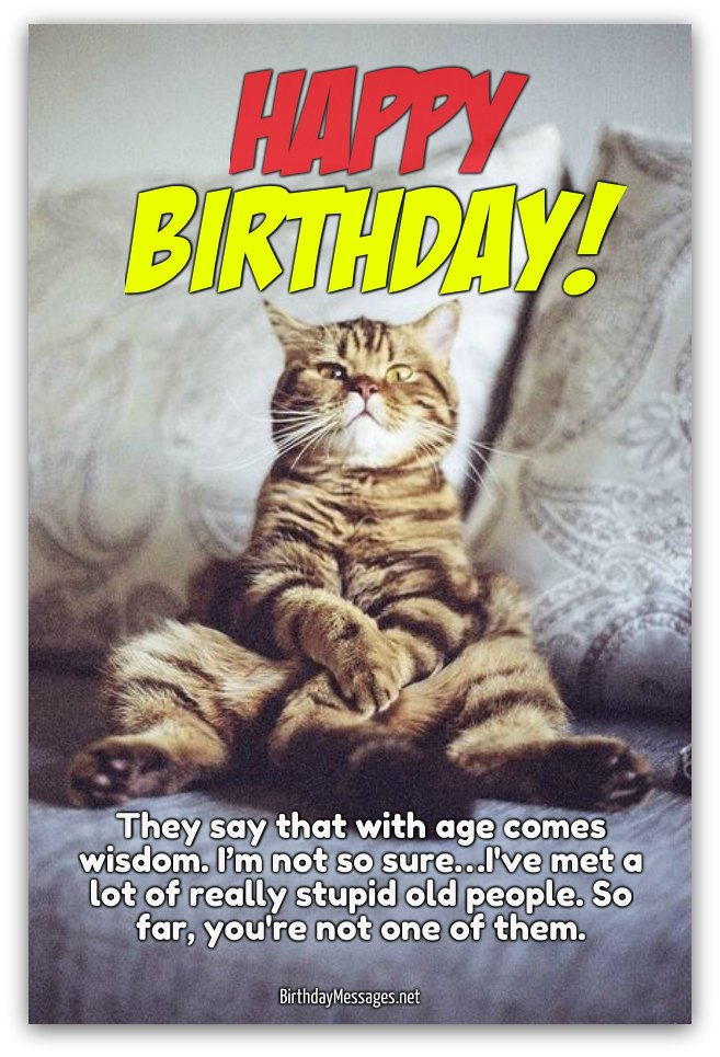 happy birthday they say that with age comes wishom. I'm not so sure... I've met a lot of really stupid old people. so far, you're not one of them.