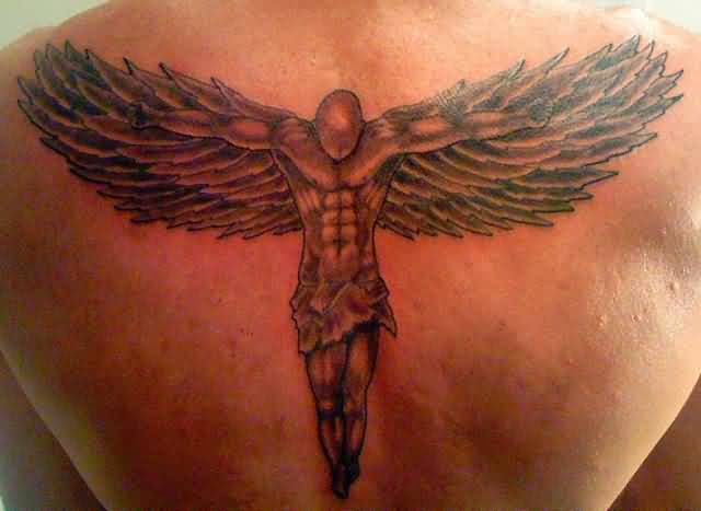 impressive red and black color ink angel tattoo on boy back cover for boys made by expert artist