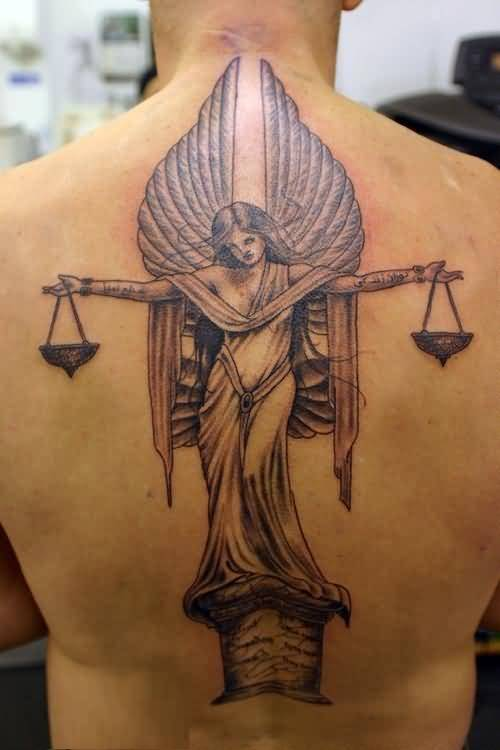 incredible red and gray color ink angel tattoo on boy back cover for man made by expert artist