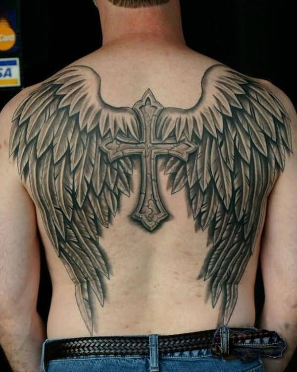 innovative gray color ink angel tattoo on boy full back cover for boys made by expert
