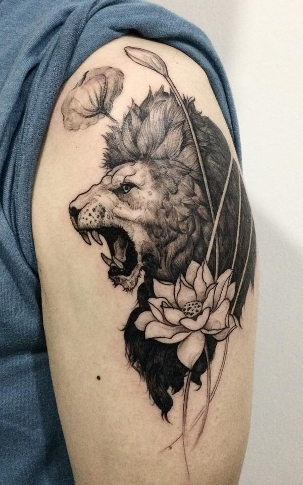 inspirational Lion and lotus tattoo on arm With black ink For Man And Woman