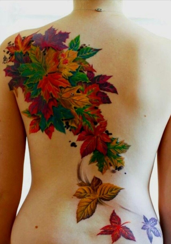 Inspirational Colorful Leaf Tattoo On Back With Colorful Ink For Man Woman