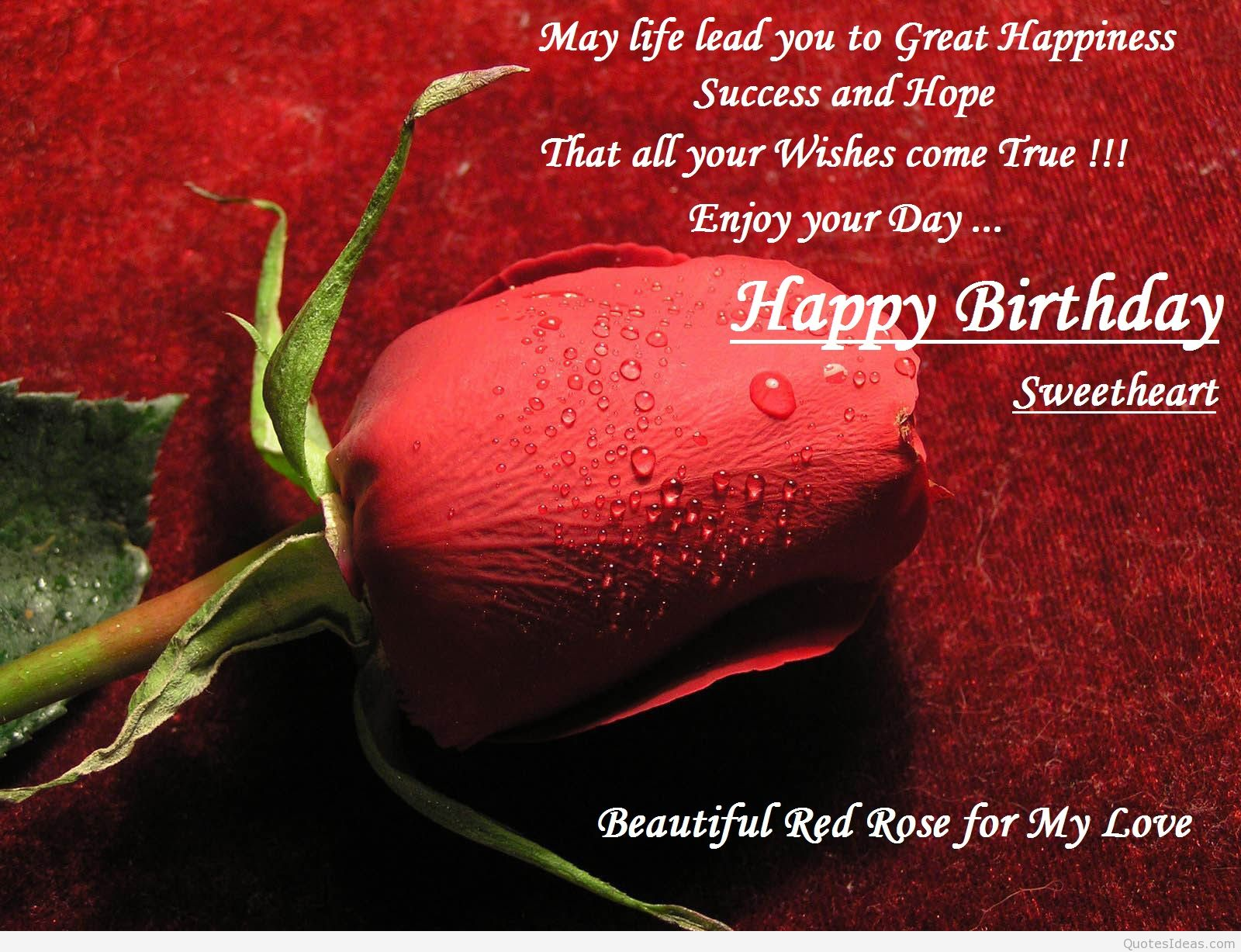 may life lead you to great happiness sucess and hope that all your wishes come true enjoy your day... happy birthday sweetheart beautiful red rose for my love.