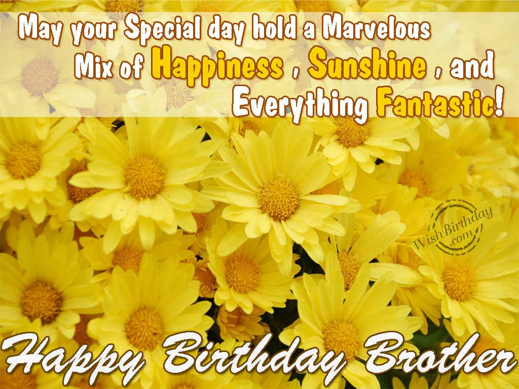 may your special day hold a marvelous mis of happiness, sunhine, and everything fantastic. happy birthday brother Birthday Quotes For Brother