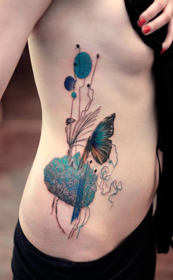 most Beautiful peacock blue with butterfly side tattoo on side With colourful ink For Man And Woma