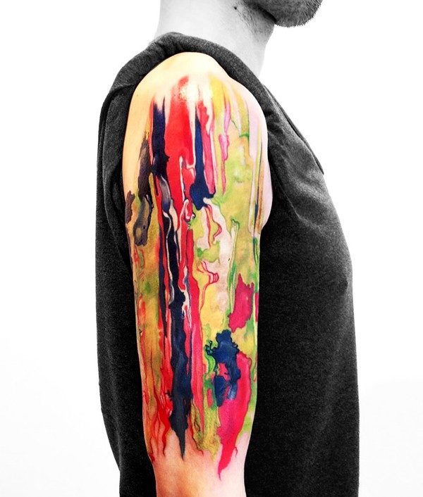 Most Amazing Abstract Colorful Tattoo On Arm With Colorful Ink For Man Woman