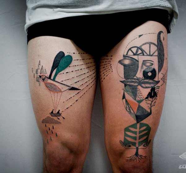 most amazing abstract surreal style tattoo on thighs With colourful ink For Man And Woma