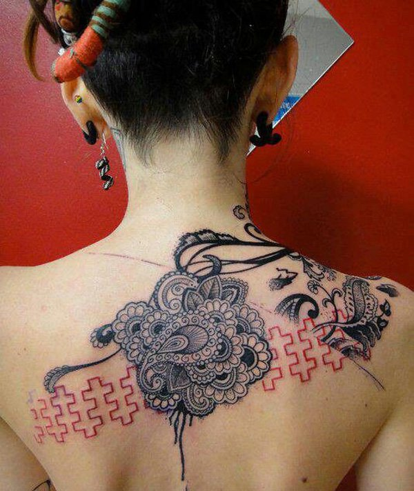 Most Amazing Lace Tattoo On Back On Back With Black Ink For Women