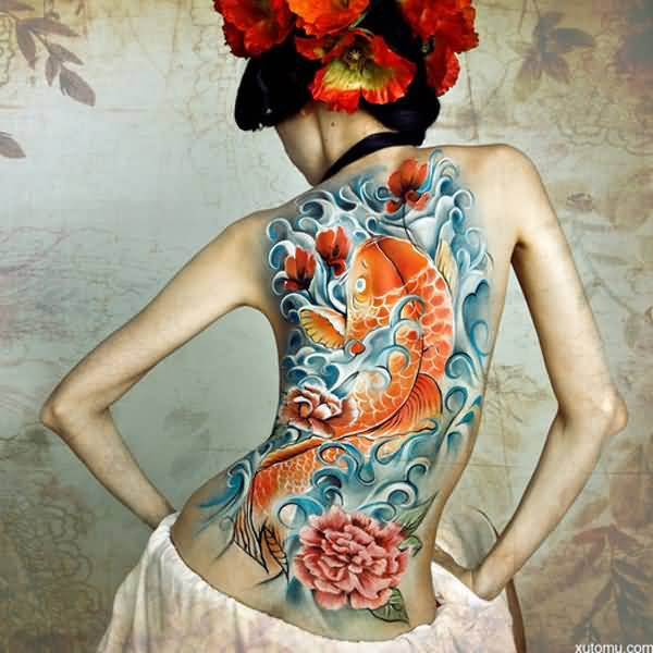 Most Attractive Fish Tattoos For Women On Back On Back With Colourful ink For Women