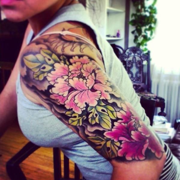peony tattoo On Arm