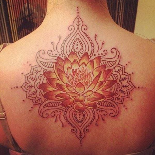 Most Beautiful Nice Lotus Tattoo For Women On Back