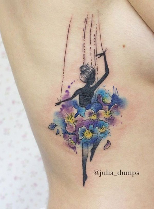 most great watercolor dancer side tattoo on side With colourful ink For Man And Woman