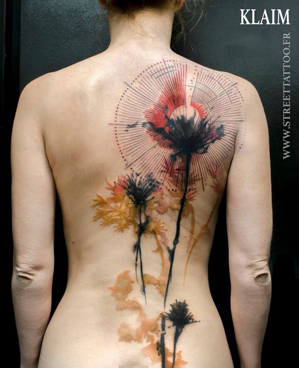 Nice Color Tattoo On Back With Colorful Ink For Man Woman